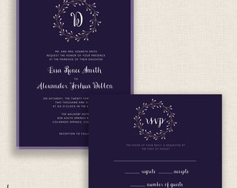 NAVY & LAVENDER - DIY Printable Wedding Set - Invitation and Reply Card