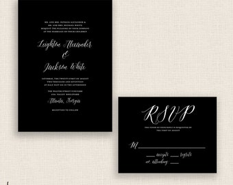 CLASSIC & CURSIVE - DIY Printable Wedding Set - Invitation and Reply Card