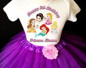 Baby Princesses Princess Belle Ariel Little Mermaid Purple 5th Fifth Girl Birthday Tutu Outfit Custom Personalized Name Age Party Shirt Set