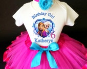 Frozen Anna Elsa Princess Pink Blue 6th Sixth Girl Birthday Tutu Outfit Personalized Custom Name Age Party Shirt Set