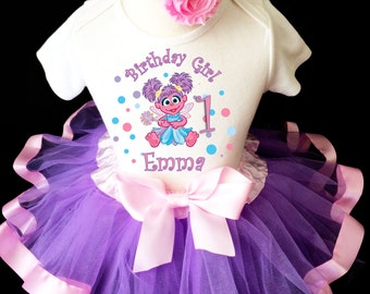 Abby Cadabby Light Purple Pink Lavender Blue 1st First Girl Birthday Tutu Outfit Custom Personalized Name Age Party Shirt Set