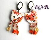 Boucles d'oreilles chat polymère mokume rouge blanc or, perles verre tchèque et cristal Swarovski, dormeuses laiton