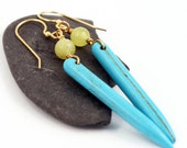 Tribal Jewelry:  Howlite Spike Earrings with Jade - southwestern style, summer jewelry