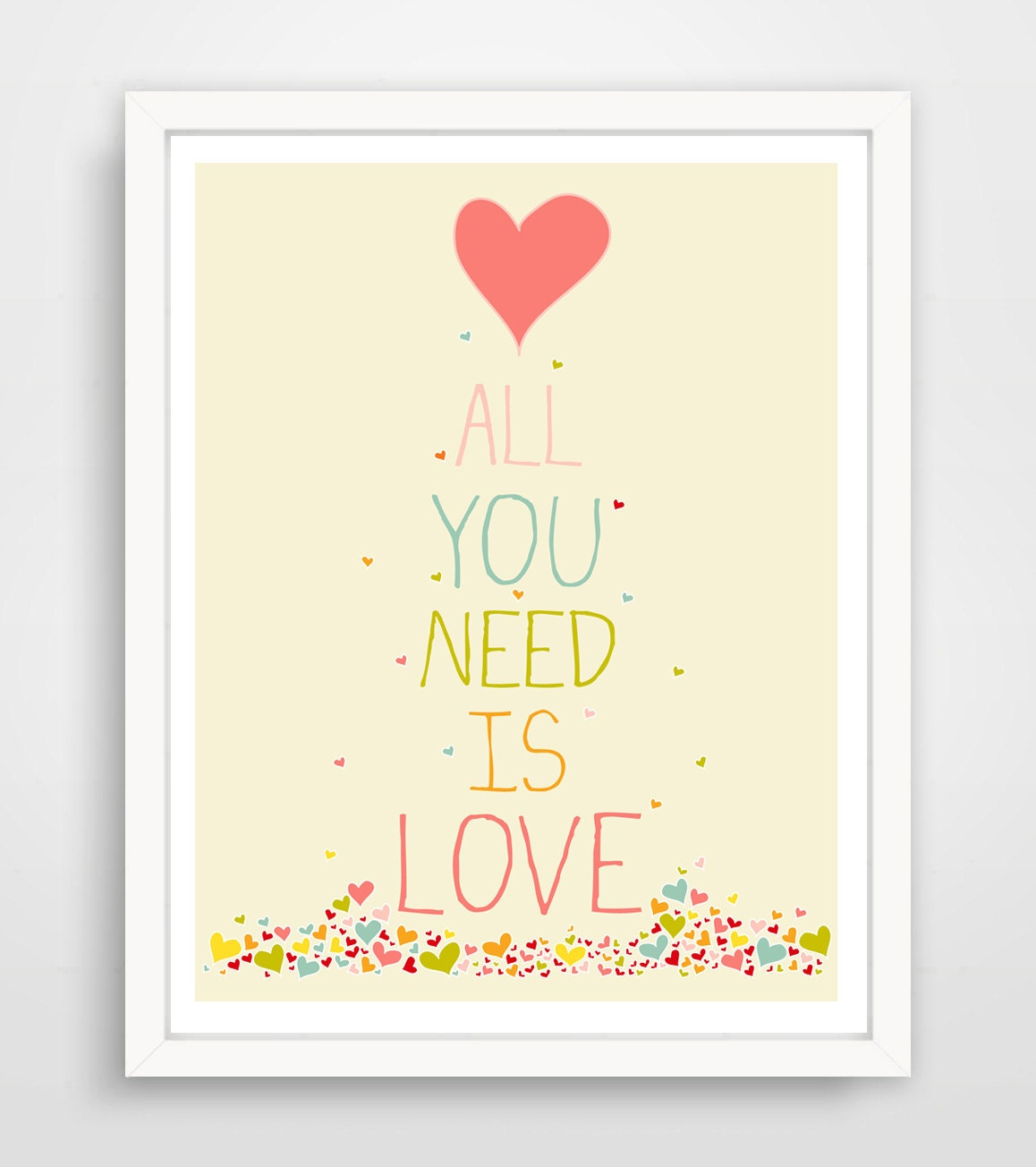 Wall Art Love Hearts : All you need is love print heart wall art decor