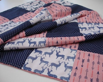 Meadow Deer and Arrows Rustic Coral and Navy Minky Comforter Blanket You Choose Size and Minky Color MADE TO ORDER No Batting