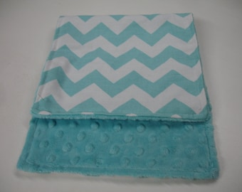 Aqua  Medium Chevron Baby Burp Cloth with Minky