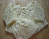 Baby Sweater Set, Hand knit Infant Set , sweater and hat, warm, new born sweater set, hand made, baby set