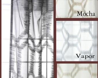 Custom Modern Ikat Sheer Drapes