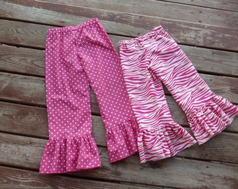 """Girls """"MODERN HOLIDAYS"""" collection  hot pink  ruffle pants  only  in sizes 6-12-18-24-mth 2T -3-4-5-6-7-8 zebra cheetah  polka dot"""