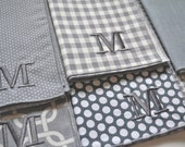 Monogrammed Shades of Gray Napkins, set of four  by Dot and Army