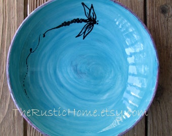 Dragonfly pottery dinner plate  choose your colors made to order dragonflies tableware rustic pottery custom plate custom pottery food safe