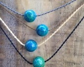 chrysocolla polynesian roping necklace / everyday and anywhere / waterproof / minimalist beauty