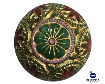 Vintage Green Mosaic Glass Cabochons with Gold Red 14mm cab757H