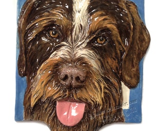 German Wirehair Pointer Ceramic Portrait Sculpture 3D Dog Art Tile by Sondra Alexander ready to ship