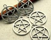 Pentacle Pentagram Star Pendants Charms - Set of 5 - 24mm x 28mm Antique Silver Charms (SC0077)