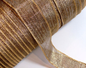 Metallic Gold Sheer Wired Ribbon 1 1/2 inches wide x 5 yards, SECOND QUALITY FLAWED, Gold Wired Ribbon