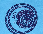 T Shirt Black  Cat Kitty Moon Stars Animal Screen Printed Cosmic Teen/ Womans Clothing