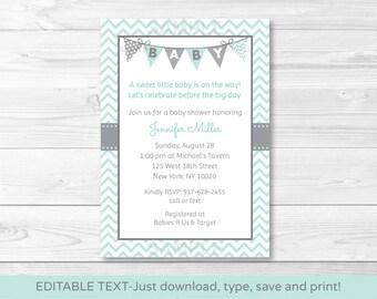Cute Chevron Baby Shower Invitation / Chevron Pattern / Green & Grey / Gender Neutral / INSTANT DOWNLOAD Editable PDF