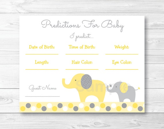 photo relating to Baby Shower Cards Printable called Facts pertaining to Yellow Gray Elephant Child Shower Kid Predictions Video game Playing cards Printable