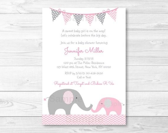 cute pink elephant baby shower invitation elephant baby shower