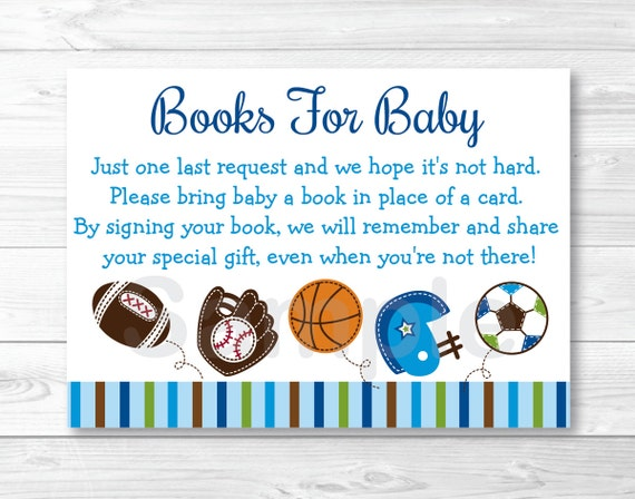 sports baby shower book request cards sports baby shower football