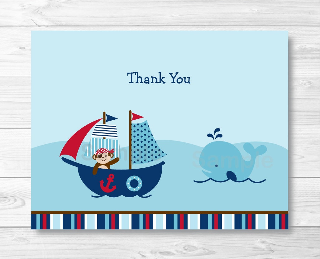 Cute Nautical Thank You Card / Nautical Baby Shower / Pirate