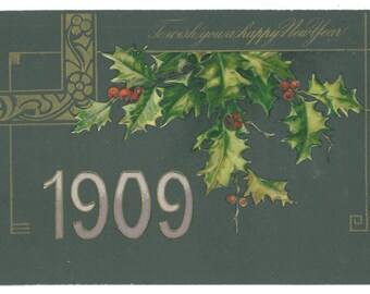 Vintage 1909 Happy New Year Holy Postcard