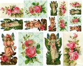 Shabby Chic Garden fairy pink roses Featured collage sheet for scrapbook and cards DC685