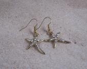 Gold Tone Starfish Dangle Earrings, Nautical Earrings, Rhinstones