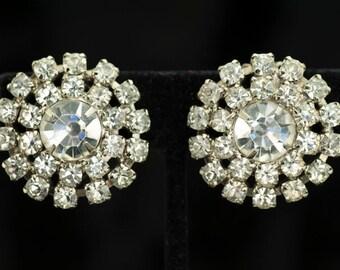 Earrings - Clear Rhinestone Clip Earrings Vintage 1960s