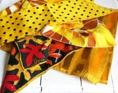Vintage Scarves - Yellow Polka Dot and Golden Butterfly Wings - Square and Long - Acetate