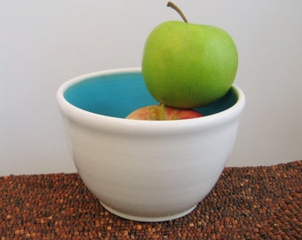 Pottery Bowl for Salsa or Dip - Turquoise Blue Stoneware Ceramic Bowl