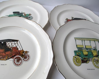 Vintage Old Fashioned Automobile Dinner Plates Set of Four