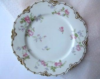 Vintage Haviland Limoges French Pink Green Rose Plate