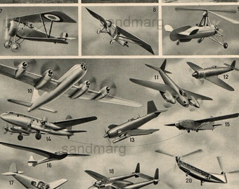 Airplanes and  Dirigibles Balloons Parachutes Double Sided Vintage French Chart
