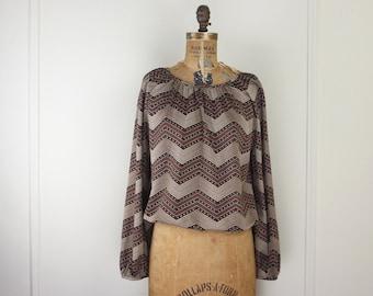 chevron stripes, vintage 1970s peasant blouse - brown, powder blue, vermillion red