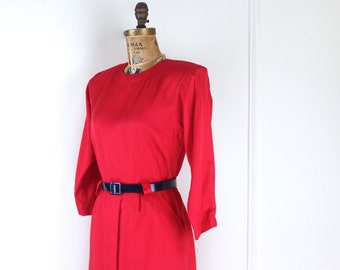 1980s does 40s style dress - vintage 80s LIPSTICK RED Dress with original tags from Bloomingdales - nos, new old stock, never worn
