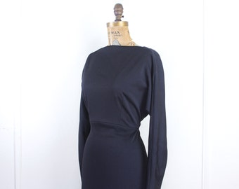 vintage 1970s long black maxi dress - 40s style gown, dolman sleeves, open back, sexy side slit - size small to medium