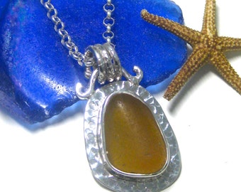 Amber Sea Glass and Sterling Silver Bezel Set Pendant | Sea Glass Jewelry | Sea Glass Pendant | Bezel Set Jewelry | Women's Jewelry