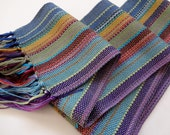 handwoven rayon scarf spring willow green in a blend of colorful hues