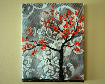 Faded Blue Lace, Red Tree of Life, Original Painting