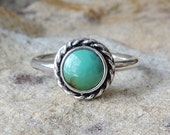 Simple little sterling ring with round green turquoise cabochon