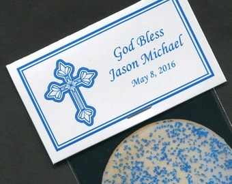 Boys Baptism Favors - Boys Christening Favors - Boys First Holy Communion Favors - Communion Labels - Personalized - Blue - Cross - 20