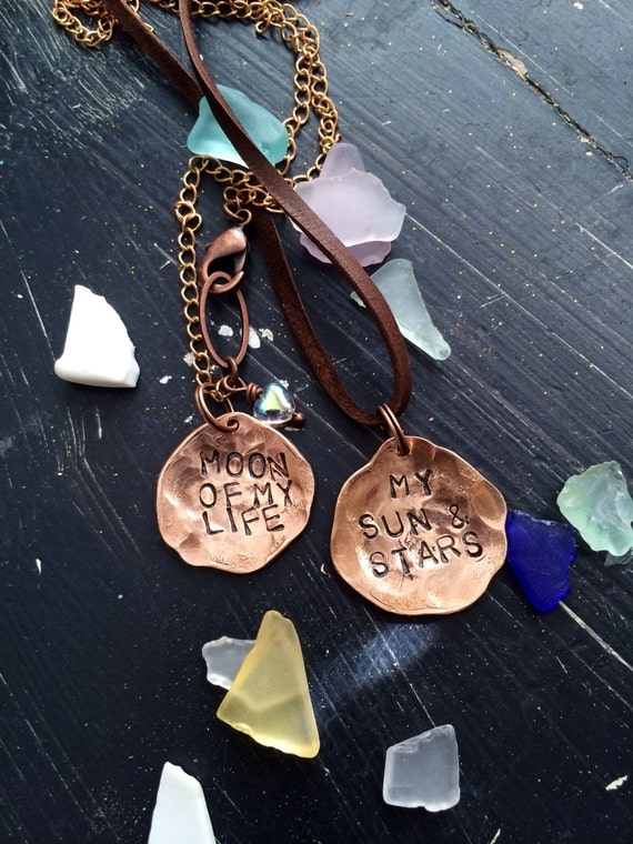 Thrones Necklace set of two ~ Hand Hammered copper penny ~ customize with your WORDs ~ sun and stars ~ moon of life ~ for the couple