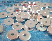 50 Silver Heishi Spacer Bead 6mm Finished Brass Flat Round - 50 pc - 5885-6 - Select Qty