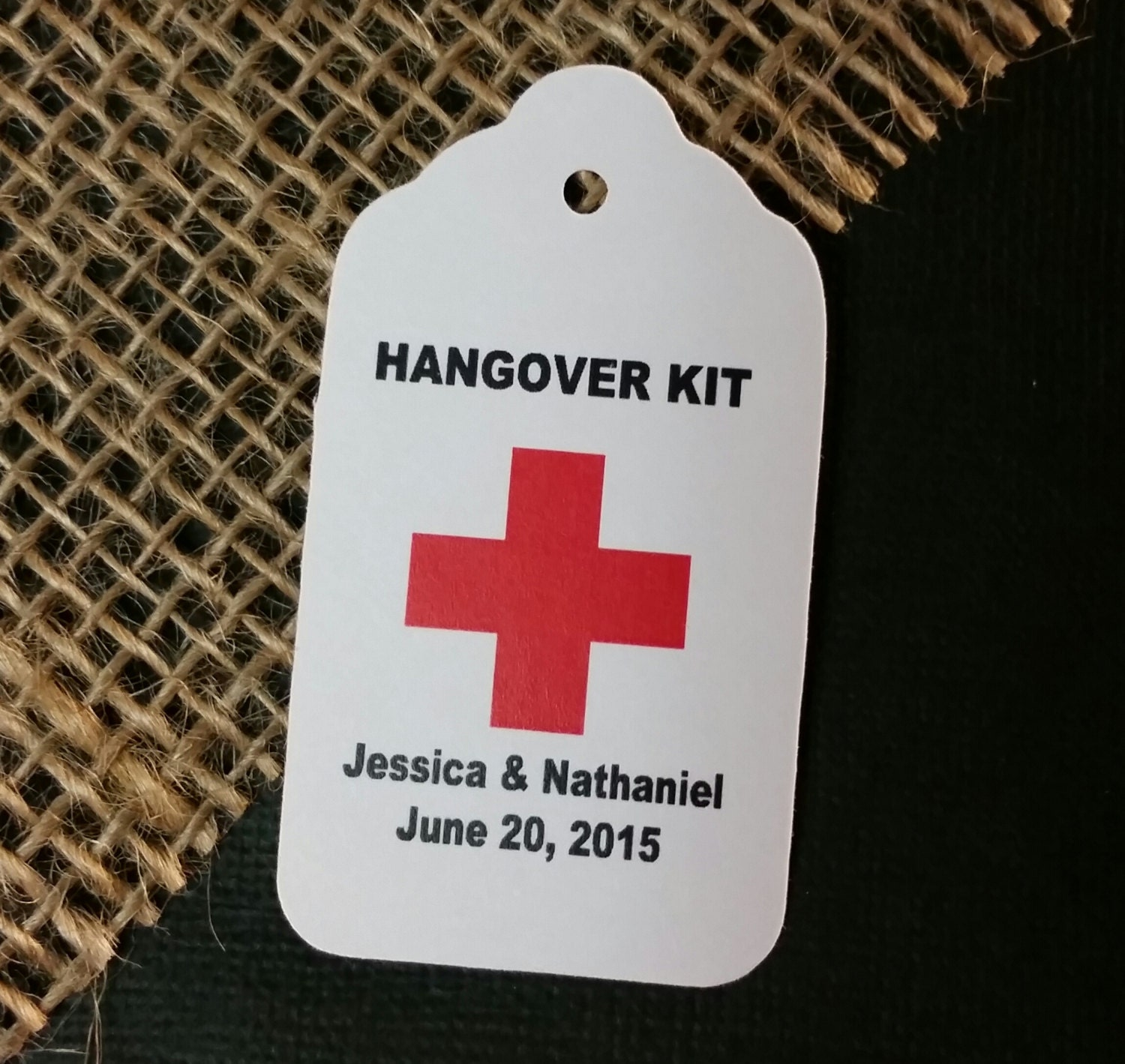 Hangover Kit Tag Personalized Wedding Favor Tag Choose