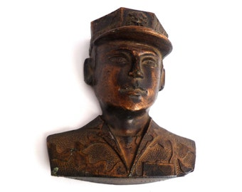 "SALE Military man paper weight, soldier cast metal, 4"" soldier, office decor, military souvenir, soldier art, brass soldier"