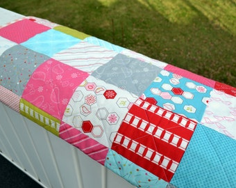 Patchwork Baby Quilt Blue Red Crib Quilt Stroller Quilt Sew Stitchy Baby Shower Quilt New Baby Gift Baby Nursery Bedding