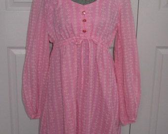 Pink Peasant dress . 70s Mini Dress . Pink Baby Doll Dress . folk dress . hippie dress