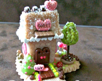 Whimsy Love Sweet Shop Miniature Handmade Faerie House One of a Kind Sculpted Love Shack